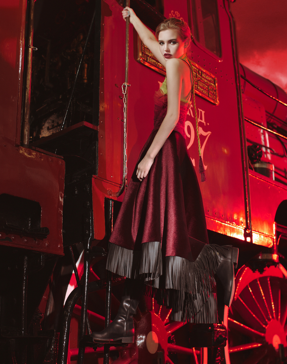 Платье с шифоновым градиентом